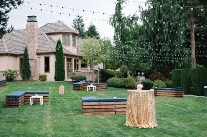 Blue Rose Photography | Seattle Wedding Planner | Gold tablecloths and navy benches