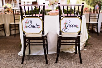 Robinswood House Wedding in Bellevue | Whimsical bride and groom chair signage | Perfectly Posh Events, Seattle Wedding Planner | Courtney Bowlden Photography