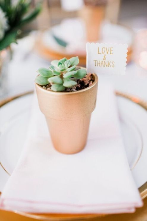 Glen Acres Golf Club   Seattle   Seattle Wedding Planner   Perfectly Posh Events   Barrie Anne Photography   Succulent favors in gold pot