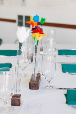 Center for Wooden Boats wedding in Seattle | Colorful paper flower centerpieces | Perfectly Posh Events, Seattle Wedding Planning | Kathryn Moran Photography