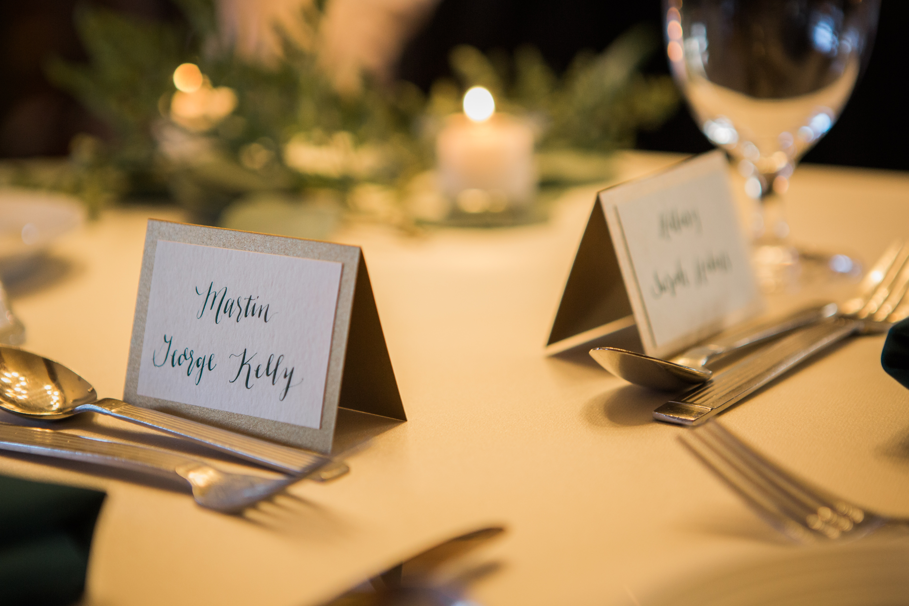 Salish Lodge Wedding in Seattle | Silver reception place cards with green ink | Perfectly Posh Events | Amy Galbraith Photography | Songbird Paperie | Salish Lodge