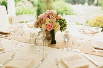 DeLille Cellars wedding in Woodinville   Birch flower vases with soft pink, peach, and cream roses with green hydrangeas   Perfectly Posh Events   Lucid Captures Photography   Bella Signature Design
