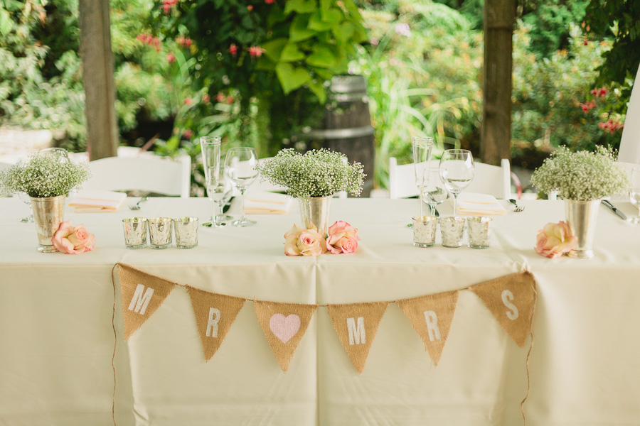 DeLille Cellars wedding in Woodinville | Burlap sweetheart banner for couple's chairs | Perfectly Posh Events | Lucid Captures Photography | Bella Signature Design