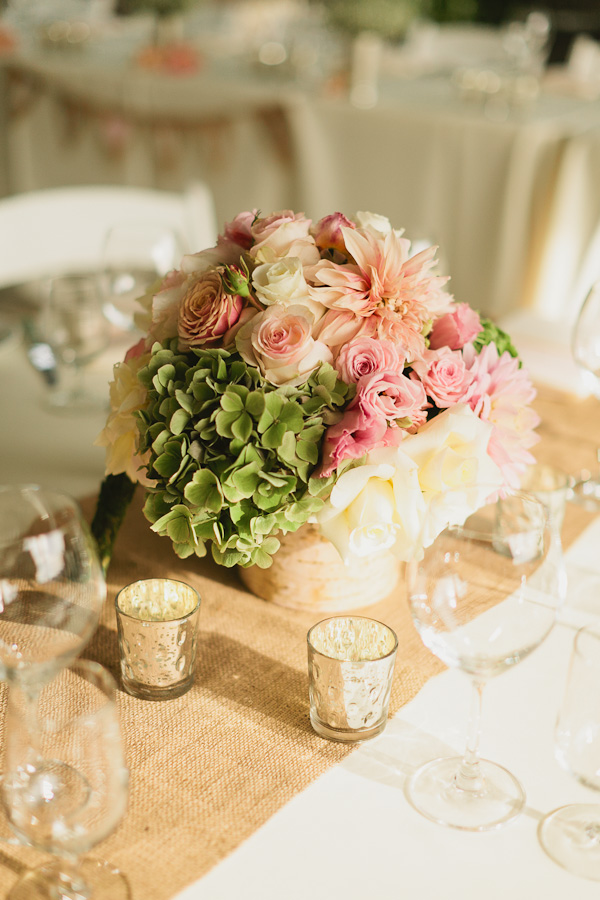 DeLille Cellars wedding in Woodinville   Birch wrapped floral vases with roses, dahlias, and hydrangeas   Perfectly Posh Events   Lucid Captures Photography   Bella Signature Design