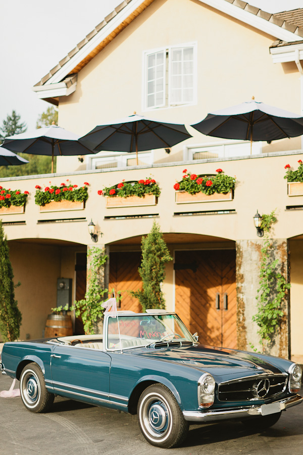DeLille Cellars wedding in Woodinville | Mercedes convertible getaway car | Perfectly Posh Events | Lucid Captures Photography