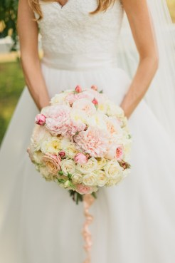 DeLille Cellars wedding in Woodinville   Romantic bridal bouquet with white and pink roses, and pink peonies   Perfectly Posh Events   Lucid Captures Photography   Bella Signature Design