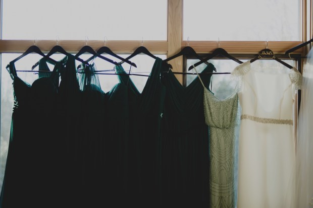 Cedarbrook Lodge wedding in Seattle | PNW New Year's Eve bridal party dresses in various shades of green | Perfectly Posh Events | Carly Bish Photography
