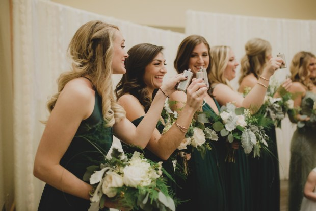 Cedarbrook Lodge wedding in Seattle | Entire wedding ceremony toasting flasks | Perfectly Posh Events | Carly Bish Photography