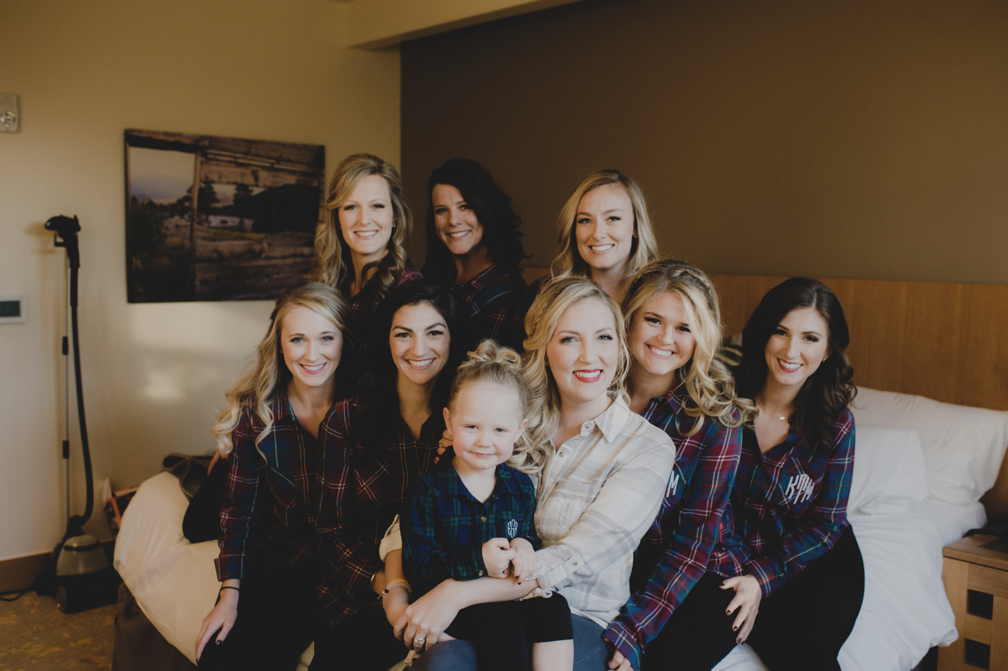 Cedarbrook Lodge wedding in Seattle | Matching embroidered Christmas plaid button-ups for bridal party getting ready photos | Perfectly Posh Events | Carly Bish Photography