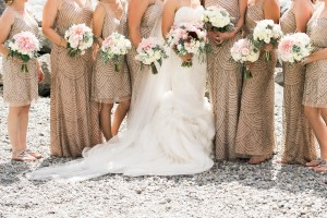 Sodo Park Wedding in Seattle | Gold, beaded bridesmaid dresses with cream and white bouquets | Perfectly Posh Events | Kimberly Kay Photography | Floressence