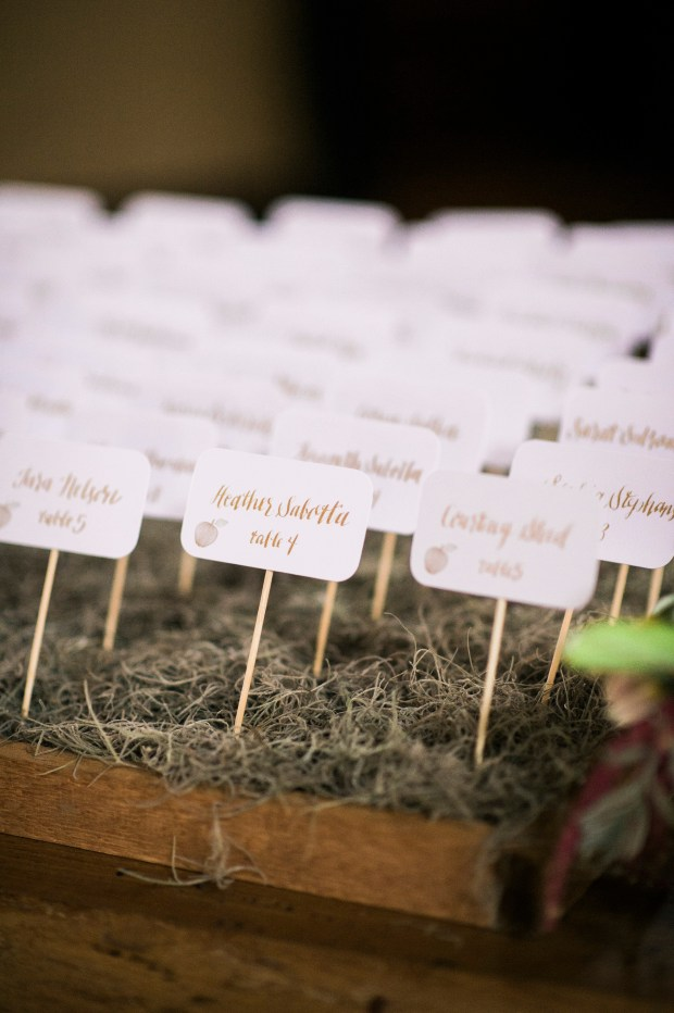 Sodo Park Wedding in Seattle | Reception escort table with toothpick name cards in moss garden | Perfectly Posh Events | Kimberly Kay Photography | Songbird Paperie