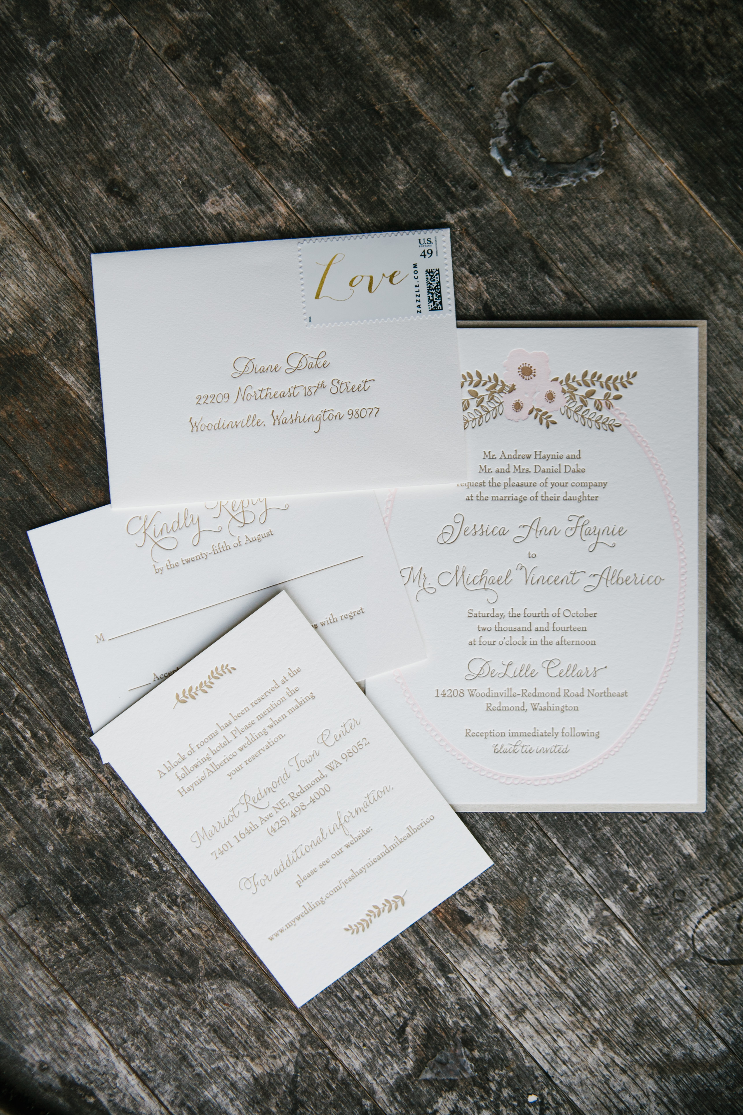 DeLille Cellars Wedding in Woodinville, WA | Light pink and gold wedding invitation suite | Perfectly Posh Events | Lucid Captures Photography