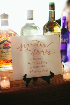 DeLille Cellars Wedding in Woodinville, WA | Custom-made calligraphy sign for | Wedding reception signature drinks in gold ink | Perfectly Posh Events | Lucid Captures Photography | La Happy Design + Calligraphy
