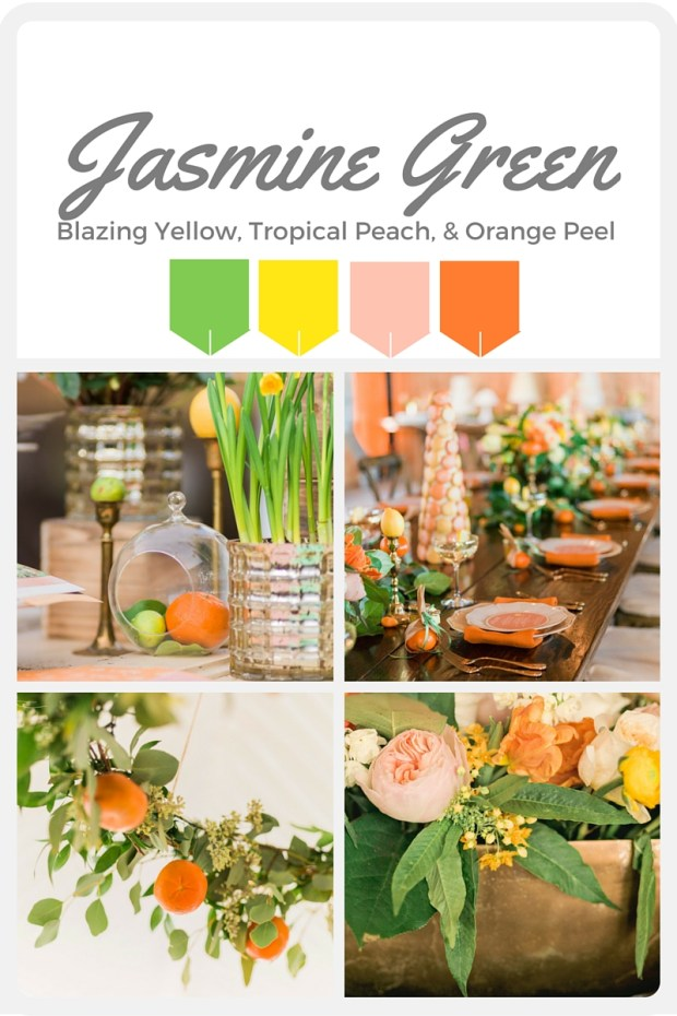 Green Wedding Color Swatches from Pantone | Real wedding with Pantone color, Jasmine Green | Coordinated by Perfectly Posh Events | Alante Photography | Floral Design by