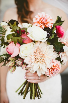Golden Gardens Bathouse Wedding | Perfectly Posh Events, Seattle Wedding Planner | Andria Linquist Photography | Stacy Anderson Design | Pink wedding bouquet dahlias | Holly + Dustin Wedding // © Andria Lindquist 2014