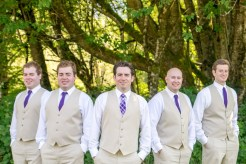 Groomsmen in khaki vests and purple ties | Meadowbrook Farm Wedding, Snoqualmie, WA | Perfectly Posh Events, Seattle Wedding Planner | Sasha Reiko Photography | Jesse + Wes Wedding // © Sasha Reiko Photography