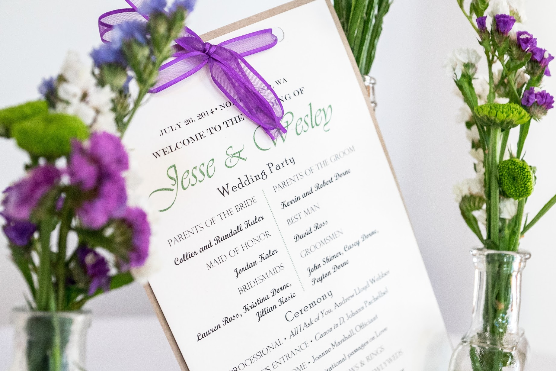 Ceremony Programs with green font and royal purple ribbon | Meadowbrook Farm Wedding, Snoqualmie, WA | Perfectly Posh Events, Seattle Wedding Planner | Sasha Reiko Photography | Jesse + Wes Wedding // © Sasha Reiko Photography