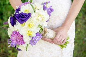 White, ivory, and various shades of purple bridal bouquet with burlap and lace wrap | Meadowbrook Farm Wedding, Snoqualmie, WA | Perfectly Posh Events, Seattle Wedding Planner | Down to Earth Flowers | Sasha Reiko Photography | Jesse + Wes Wedding // © Sasha Reiko Photography
