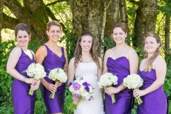 Royal purple bridesmaid dresses in different styles with white bouquets | Meadowbrook Farm Wedding, Snoqualmie, WA | Perfectly Posh Events, Seattle Wedding Planner | Down to Earth Flowers | Sasha Reiko Photography | Jesse + Wes Wedding // © Sasha Reiko Photography
