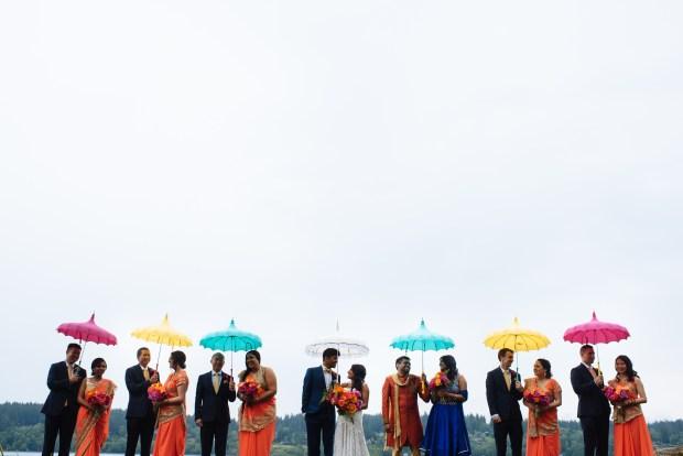 Kiana Lodge Wedding on Bainbridge Island, WA | Creative alternatives for a rainy PNW wedding with colorful umbrellas | Perfectly Posh Events, Seattle Wedding Planning | Shane Macomber Photography | Umbrellas provided by Bella Umbrella