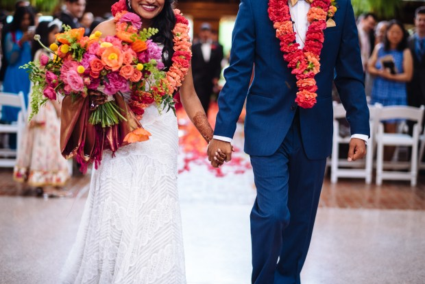 Kiana Lodge Wedding on Bainbridge Island, WA | Vibrant Hindu wedding ceremony flower garlands for the bride and groom | Perfectly Posh Events, Seattle Wedding Planning | Shane Macomber Photography | Floral Design by Flora Nova