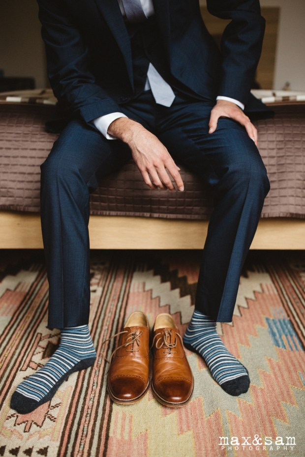 The Lodge at Fall City Wedding in Seattle, WA | Striped socks and brown shoes for groom attire | Perfectly Posh Events, Seattle Wedding Planner | Max & Sam Photography