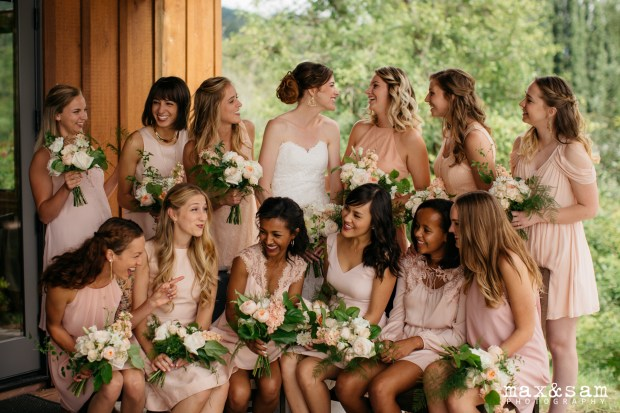 The Lodge at Fall City Wedding in Seattle, WA | Blush bridesmaid dresses in different styles with garden styled bouquets | Perfectly Posh Events, Seattle Wedding Planner | Floral Design by Sugar Pine | Max & Sam Photography