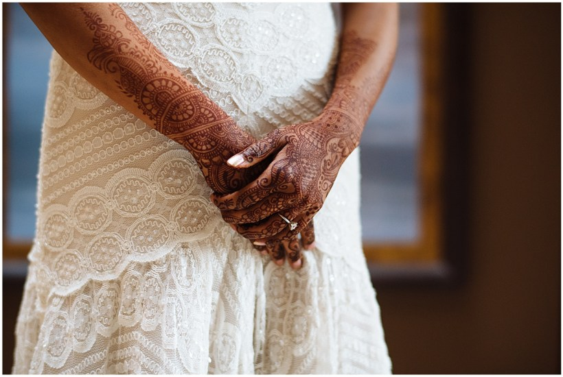 White laced scalloped dress with henna tattooed hands | Kiana Lodge Wedding, Bainbridge Island, WA | Perfectly Posh Events: Seattle + Portland Wedding Planners | Shane Macomber Photography