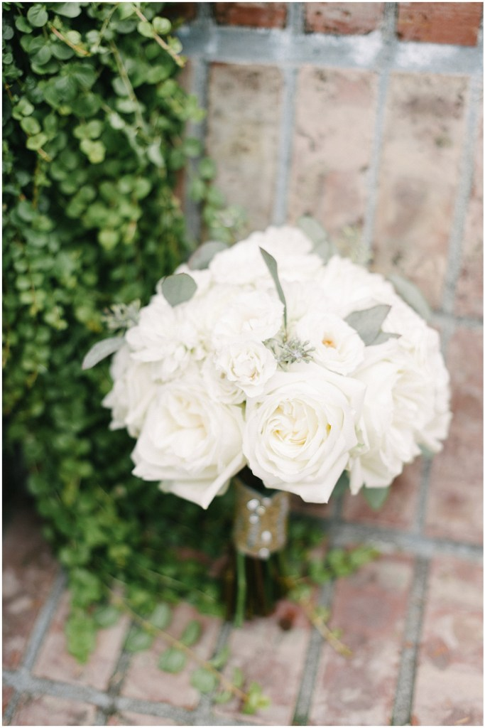 White bouquet with white roses, Private Estate Wedding in Woodinville, Wedding Planning and Design by Perfectly Posh Events: Seattle and Portland Wedding Planner, Photo by Blue Rose Photography, Flowers by Sugar Pine