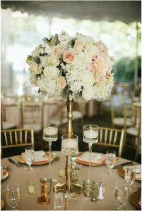 Wedding table centerpiece featuring blush and ivory floral bouquet in gold vessel, Woodinville wedding at DeLille Cellars, Seattle wedding, Perfectly Posh Events wedding planning and design, Seattle and Portland Wedding Planner, Photo by Lucid Captures Photography
