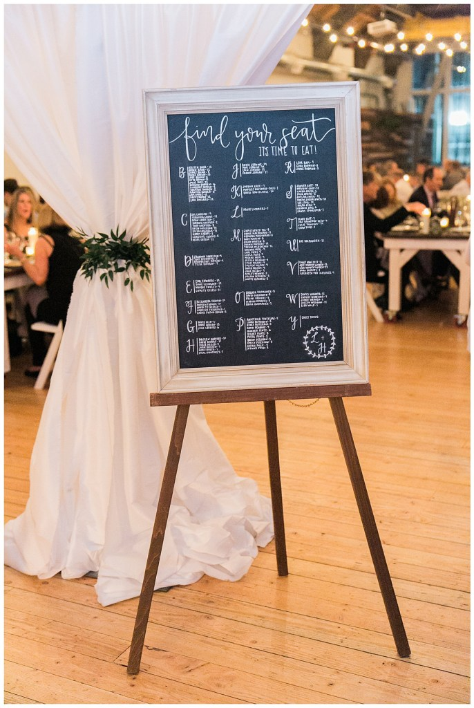 Metropolist Wedding in Seattle, WA | Escort sign on chalkboard with white ink and couple crest | Seattle Wedding Planner, Perfectly Posh Events | Katie Parra Photography | Calligraphy by Whit Design Shop
