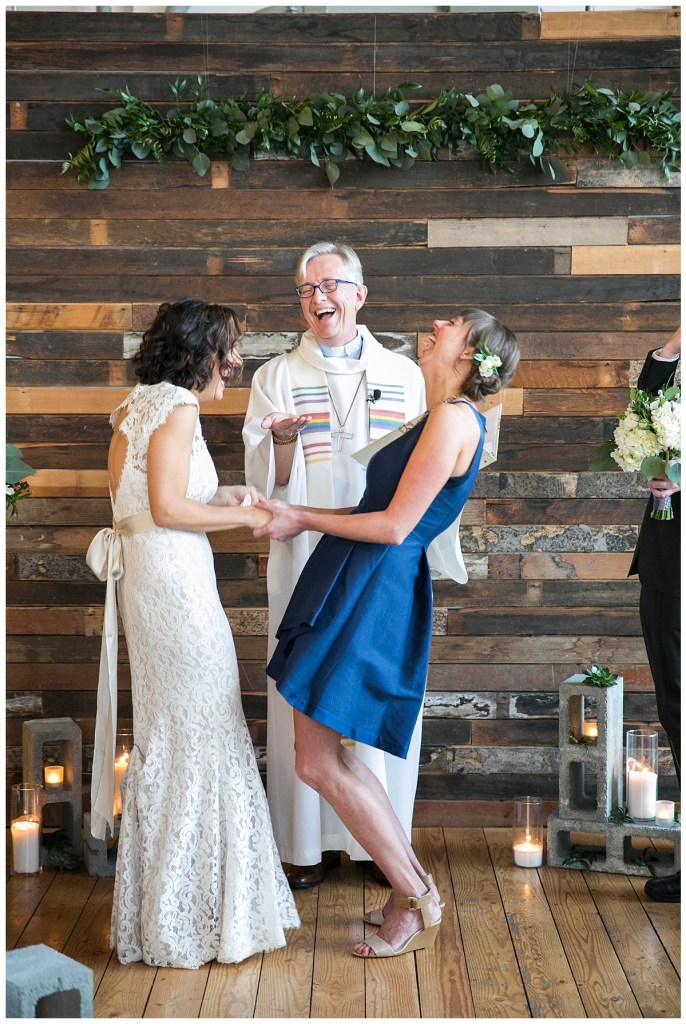 Same Sex Metropolist Wedding in Seattle, WA | Industrial modern wedding design, with cinder blocks for the aisle and altar decor | Seattle Wedding Planner, Perfectly Posh Events | Katie Parra Photography | Floral Design by Sublime Stems