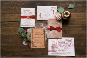 White and burgundy wedding invitations featuring lace detailing, Seattle wedding at Sodo Park, Perfectly Posh Events wedding planning and design, Seattle and Portland Wedding Planner, Photo by Kimberly Kay Photography