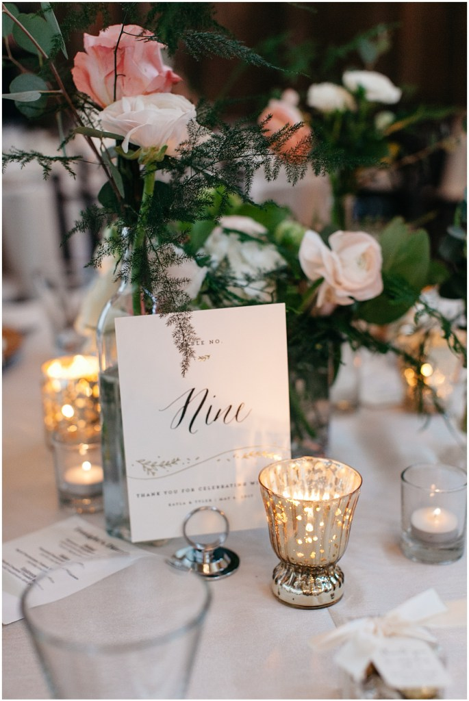 Table number with hand written calligraphy and floral and candle accents, Sodo Park wedding, Seattle wedding, Perfectly Posh Events wedding planning and design, Seattle and Portland Wedding Planner, Photo by Kate Price Photography