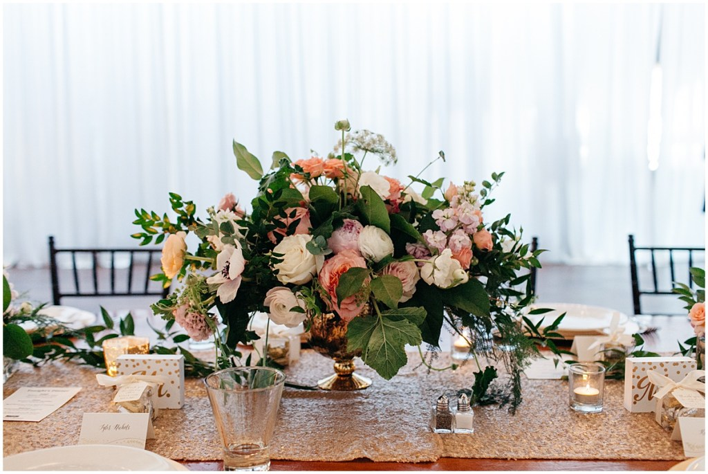 Large floral table centerpiece with blush, white, and coral flowers, Sodo Park wedding, Seattle wedding, Perfectly Posh Events wedding planning and design, Seattle and Portland Wedding Planner, Photo by Kate Price Photography