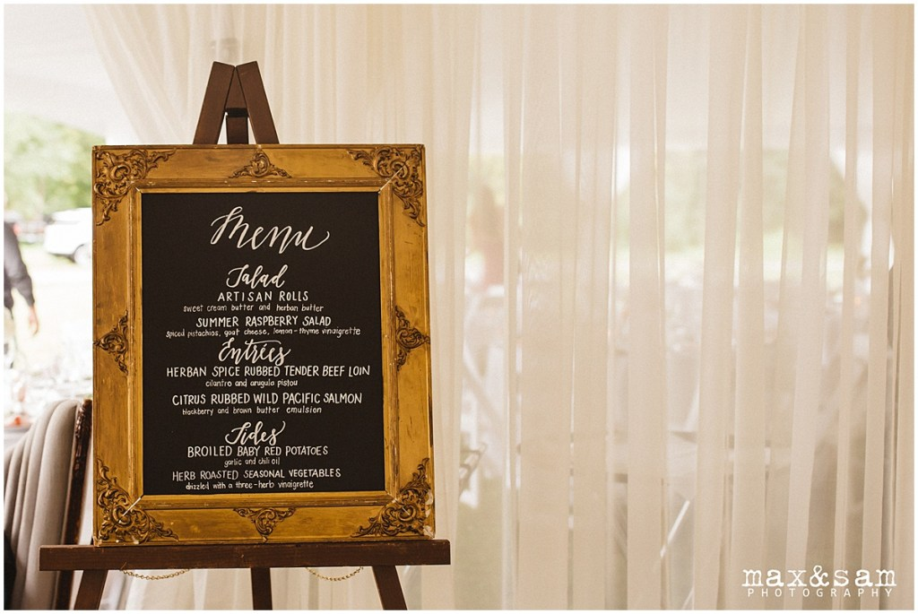 Wedding reception dinner menu hand written on chalk board in vintage gold frame, The Lodge at Fall City wedding, Seattle wedding, planning and design by Perfectly Posh Events, Seattle Wedding Planner, Photo by Max & Sam Photography