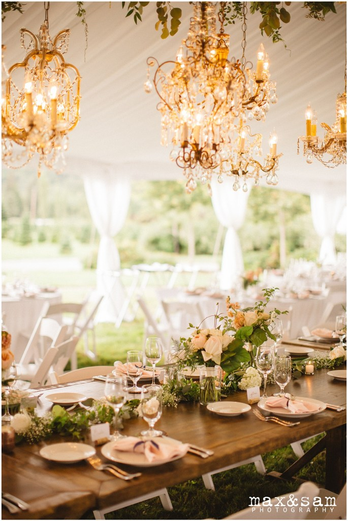 Dramatic vintage chandeliers hang above rustic wood table decorated with floral arrangements, The Lodge at Fall City wedding, Seattle wedding, planning and design by Perfectly Posh Events, Seattle Wedding Planner, Photo by Max & Sam Photography