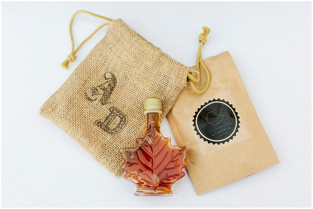 Custom wedding guest gifts with Canadian maple syrup and Ethiopian coffee, Admiral's House wedding, Seattle wedding, wedding planning by Perfectly Posh Events, Seattle Wedding Planner, Photo by Michele M. Waite Photography
