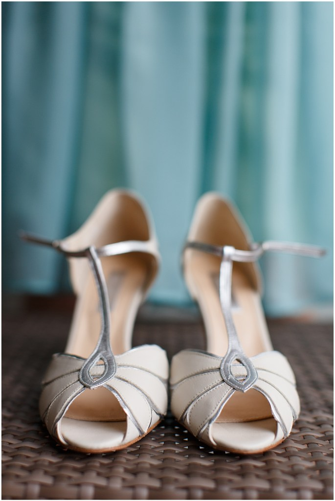 Close up of bride's ivory and silver shoes, Kiana Lodge wedding, Perfectly Posh Events wedding planning, Seattle wedding planning, Photo by Amy Soper Photography