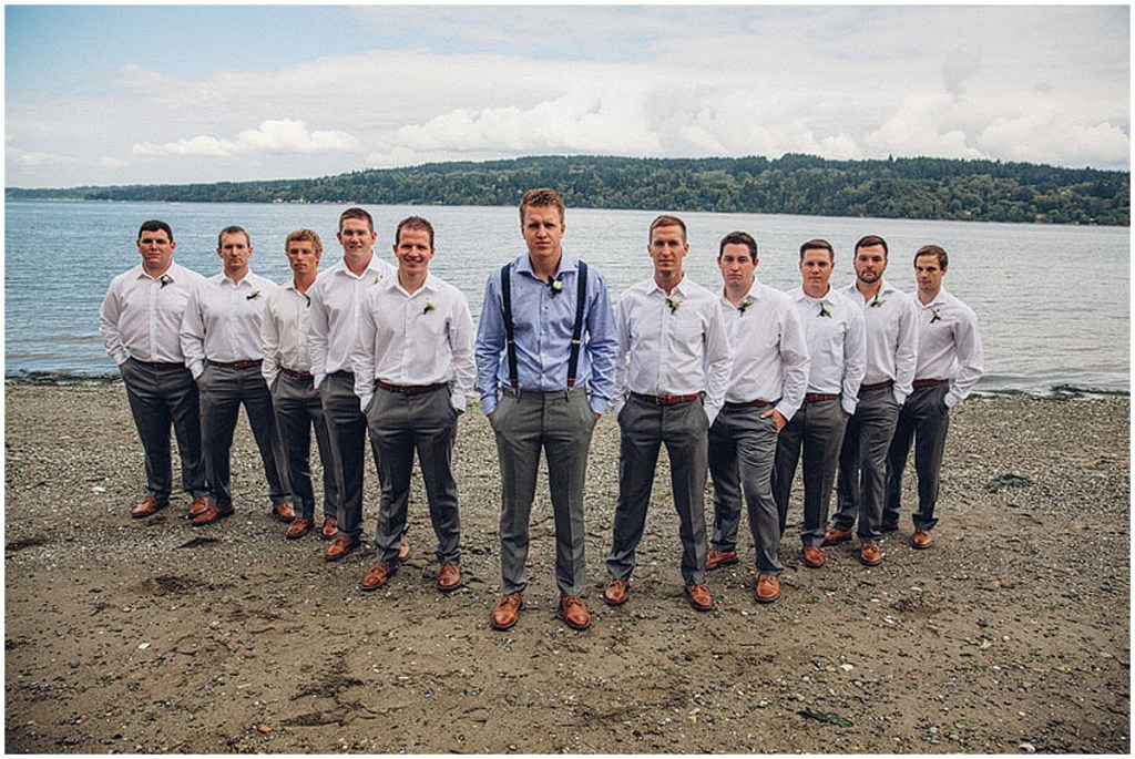 A groom poses with his groomsmen before his outdoor waterfront wedding in Gig Harbor, Washington, Washington wedding, Perfectly Posh Events wedding planning, Washington wedding planner, Photo by Mike Fiechtner Photography