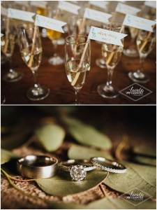 Champagne glasses with custom made flags with guest names and the bride and groom's wedding bands and engagement ring, Songbird Paperie, The Foundry by Herban Feast wedding, Seattle wedding, wedding planning by Perfectly Posh Events, Photo by Laurel McConnell Photography