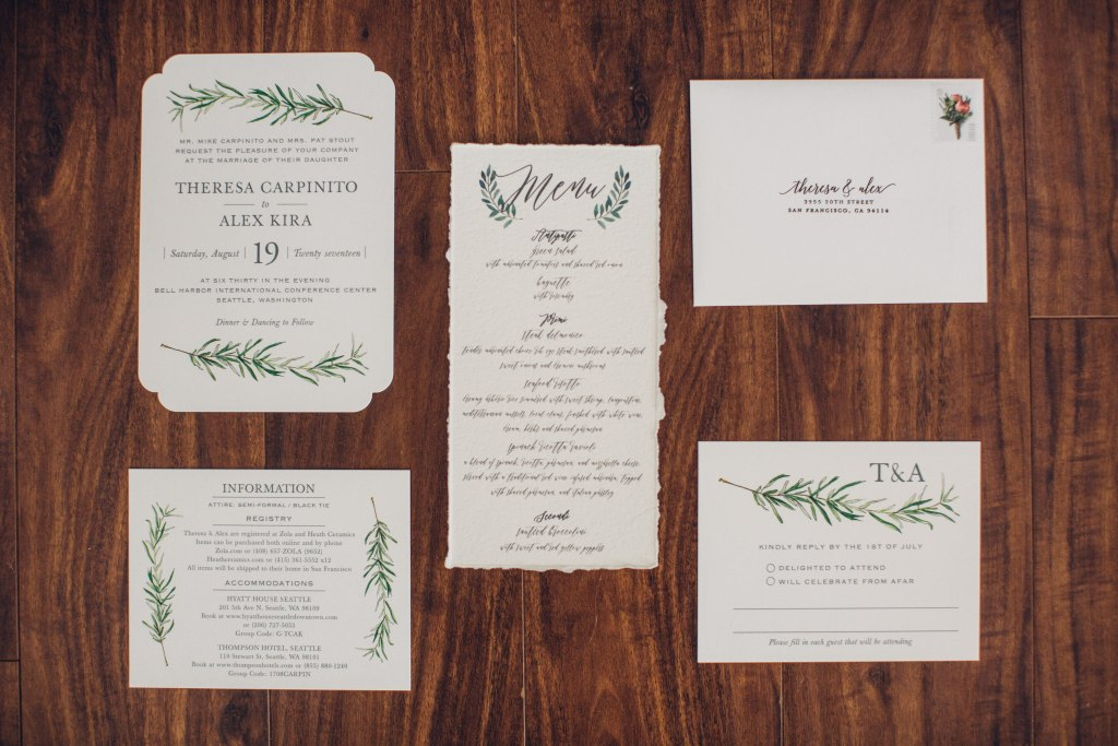 Custom wedding invitations with hand drawn calligraphy and drawings of rosemary and olive branches, Italian inspired wedding, Bell Harbor at Pier 66 wedding, Seattle wedding, planning by Perfectly Posh Events, Seattle wedding planner, Photo by Mike Fiechtner Photography