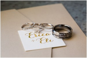 Close up of bride and groom's wedding bands and engagement ring, Sodo Park wedding, Seattle wedding planner, Perfectly Posh Events, Photo by La Vie Photography