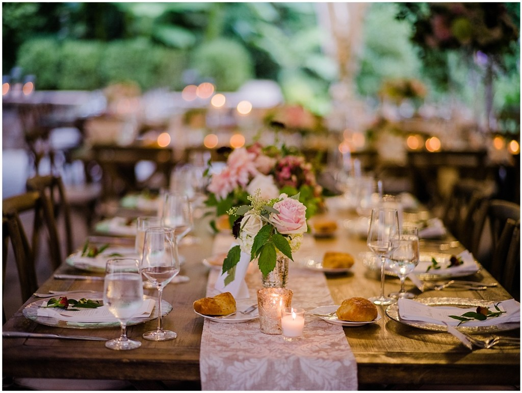 Long, rustic wood wedding reception dinner table with small glass floral vases, DeLille Cellars wedding, Washington wedding planner, Perfectly Posh Events, Photo by Shane Macomber Photography