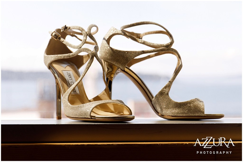 Bride's champagne colored Jimmy Choo heels with strapped ankles, Four Seasons wedding, Seattle wedding, Perfectly Posh Events event coordination, Photo by Azzura Photography