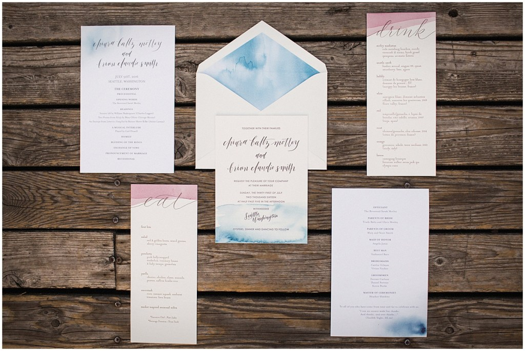 Custom designed wedding invitations, programs, and menus featuring blue and pink watercolor accents, urban wedding, Within Sodo wedding, Seattle event planner, Perfectly Posh Events, Photo by Jenny J Photography