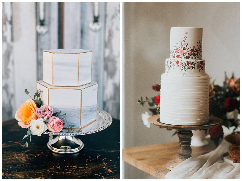 Neutral and floral tiered cakes with subtle greenery created by BAKED. Custom Cakes in Seattle, WA. Click here to see more cakes by BAKED. Custom Cakes. Wedding photography by Lora Grady Photography and Rachel Birkhofer. #perfectlyposhevents