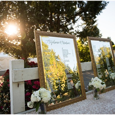 Wedding seating chart displayed on mirrors at outdoor winery wedding | Whimsical and Romantic Wedding at DeLille Cellars | Wedding Planning & Design by Perfectly Posh Events | Wedding Photos by Barbie Hull Photography | Wedding Flowers by Floressence | #perfectlyposhevents