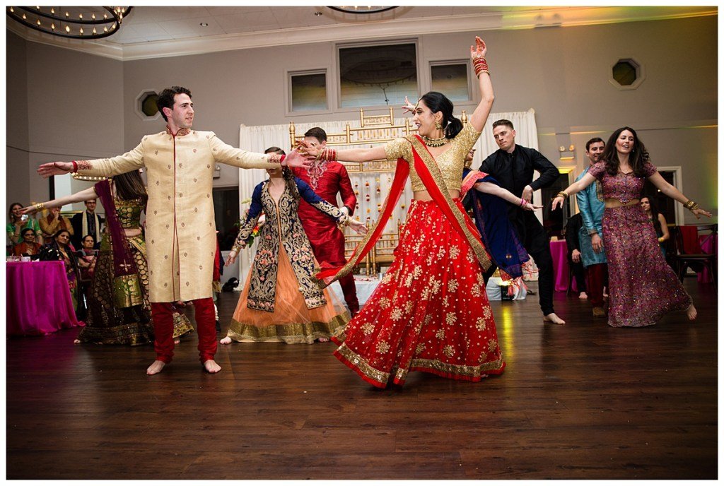 Hetal + Jake spent months rehearsing this choreographed dance, with some of their friends, to the delight of the wedding guests.