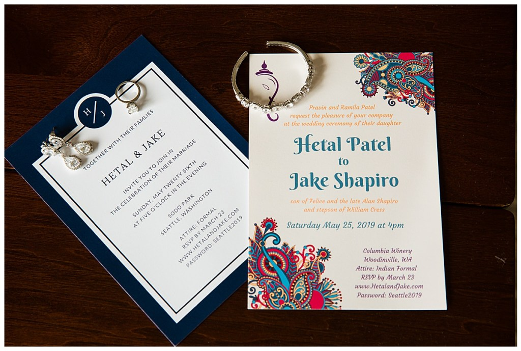 Hetal + Jake's wedding invitations set the tone for their guests as to what they could expected from the wedding weekend.